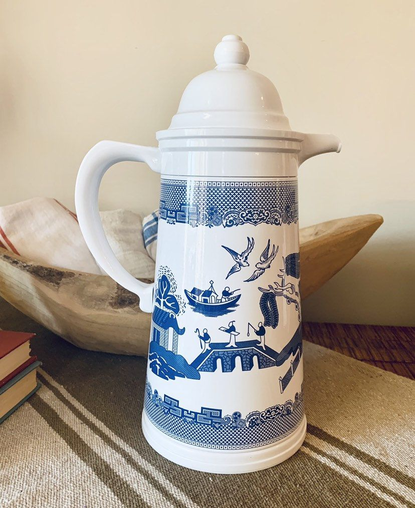 Vintage Blue Willow Hot Cold Carafe Coffee Server Johnson Brothers A.K. Das #coffeeserver