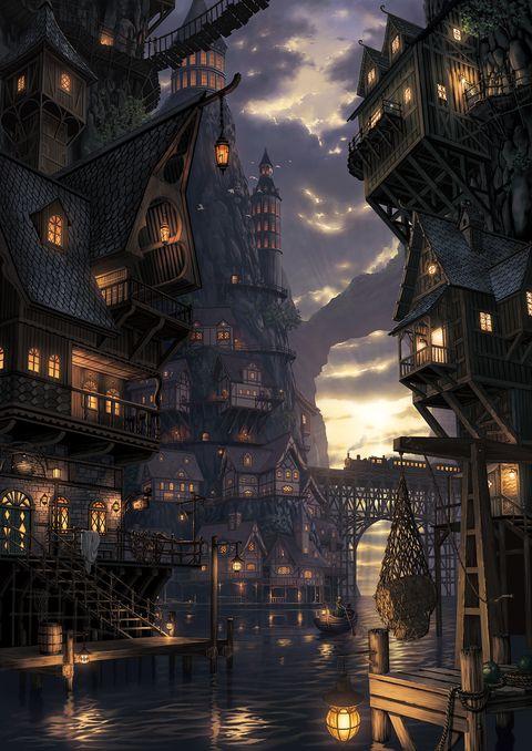 オリジナル 闇の渓谷 ど らのイラスト ファンタジーシティー