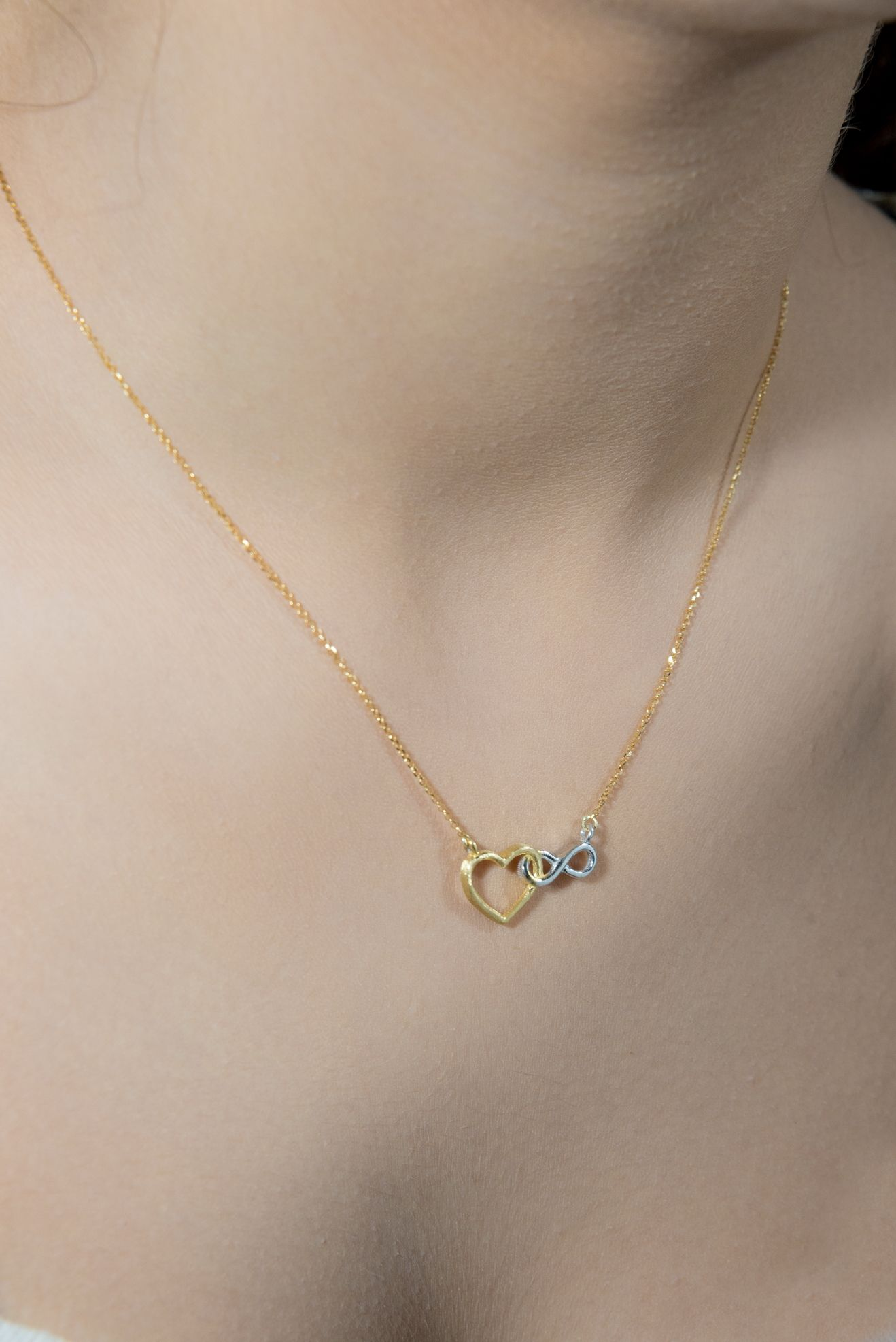 14k Two Tone Yellow Gold Cat Heart Pendant Charm Necklace Animal Fine Jewelry Gifts For Women For Her