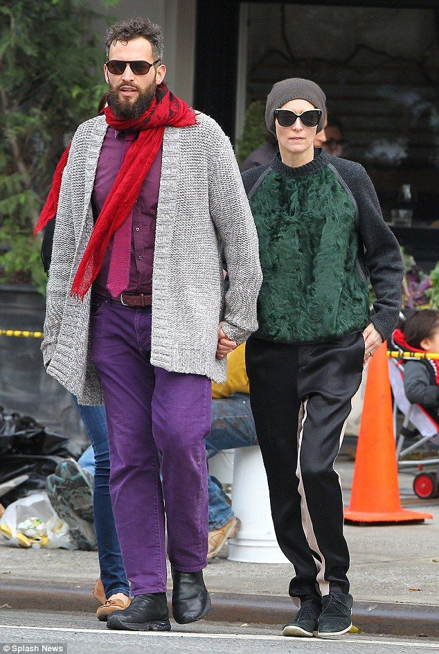 Taking A Walk Tilda Swinton Right And Sandro Kopp Left Were Spotted Out For A Stroll In The East Village Of New Tilda Swinton Sartorialist Stylish Couple