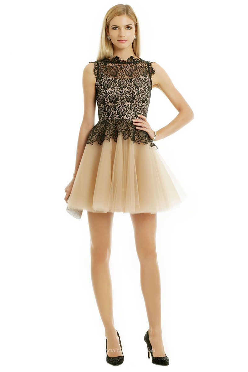 Black lace over blush tulle sleeveless short cocktail bridesmaid
