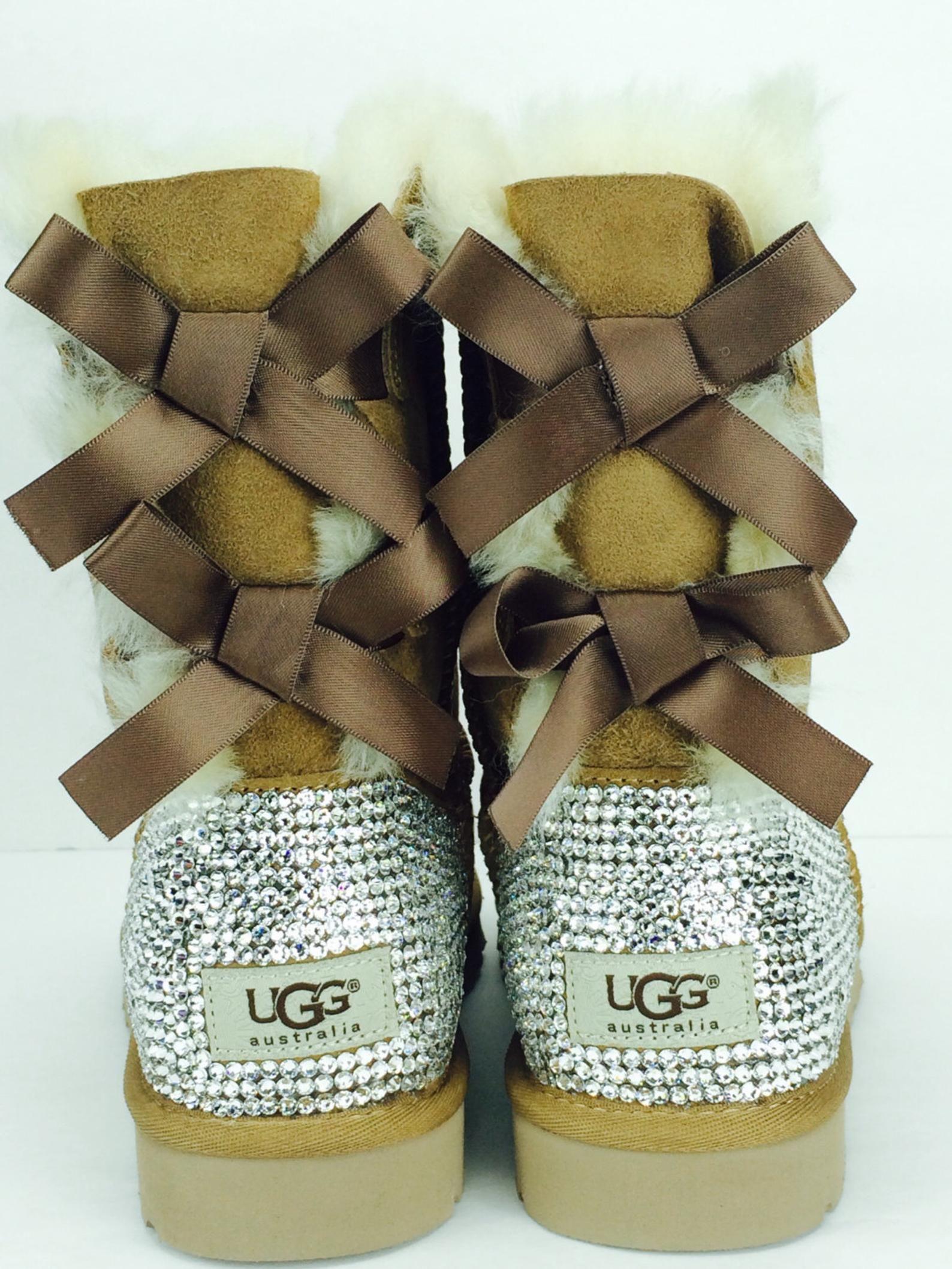 Custom Bailey Bow Chestnut UGG Boots made with Swarovski