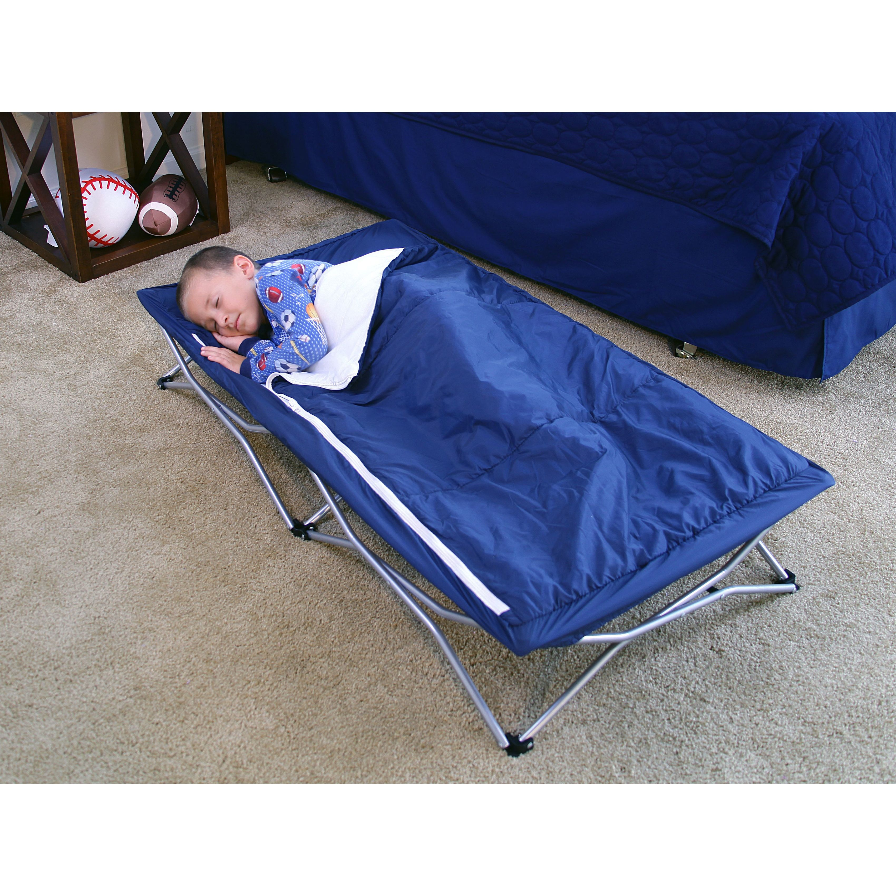The Regalo My Cot Deluxe is a child-size portable sleeping cot with multiple uses. It's great for the home, grandma's house, sleepovers, camping, the beach or daycare and features a durable all steel frame with reinforced canvas bed liner.  Omg I want this