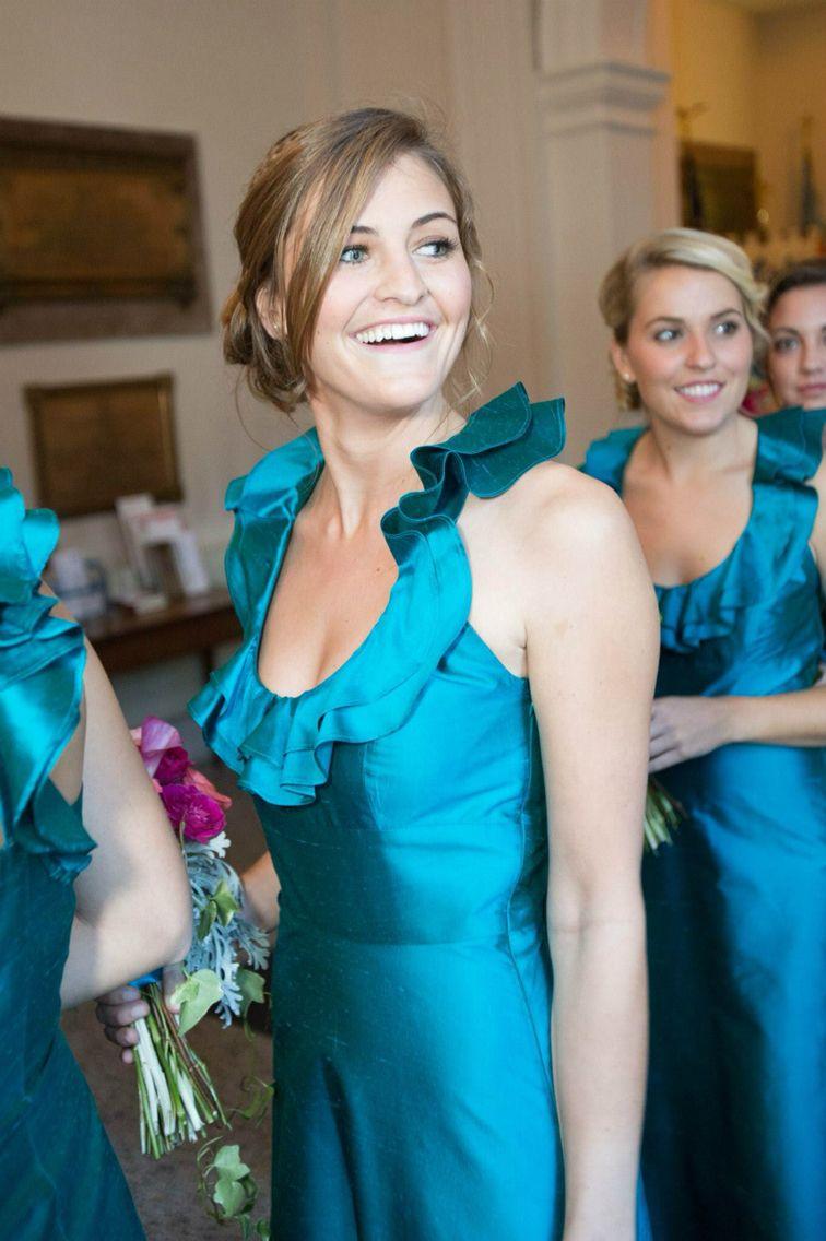 Ocean blue bridesmaids gowns u ruffled u open back u floor length