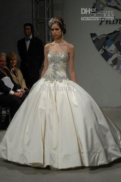 Amazing Gorgeous Beaded Pnina Tornai Ball Gown Bling Wedding Dresses Satin Sweetheart Jeweled Corset Lace Up Back Chapel Train Bridal Dresses