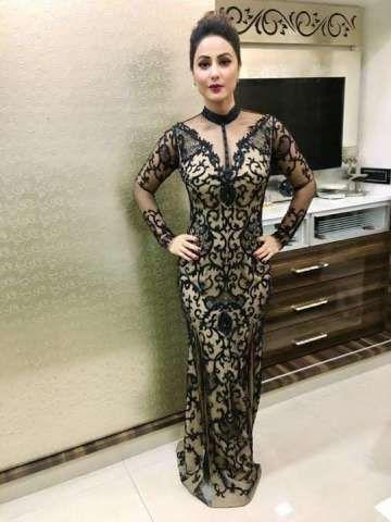 Actress Hina Khan Wearing Stunning Tatto Trellis Gown By Karleo