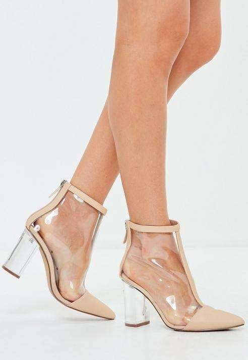 cabe6a37e947 Nude Perspex Toe Cap Detail Ankle Boots  ad newarrivals  shoes   shoesaddiction  heels