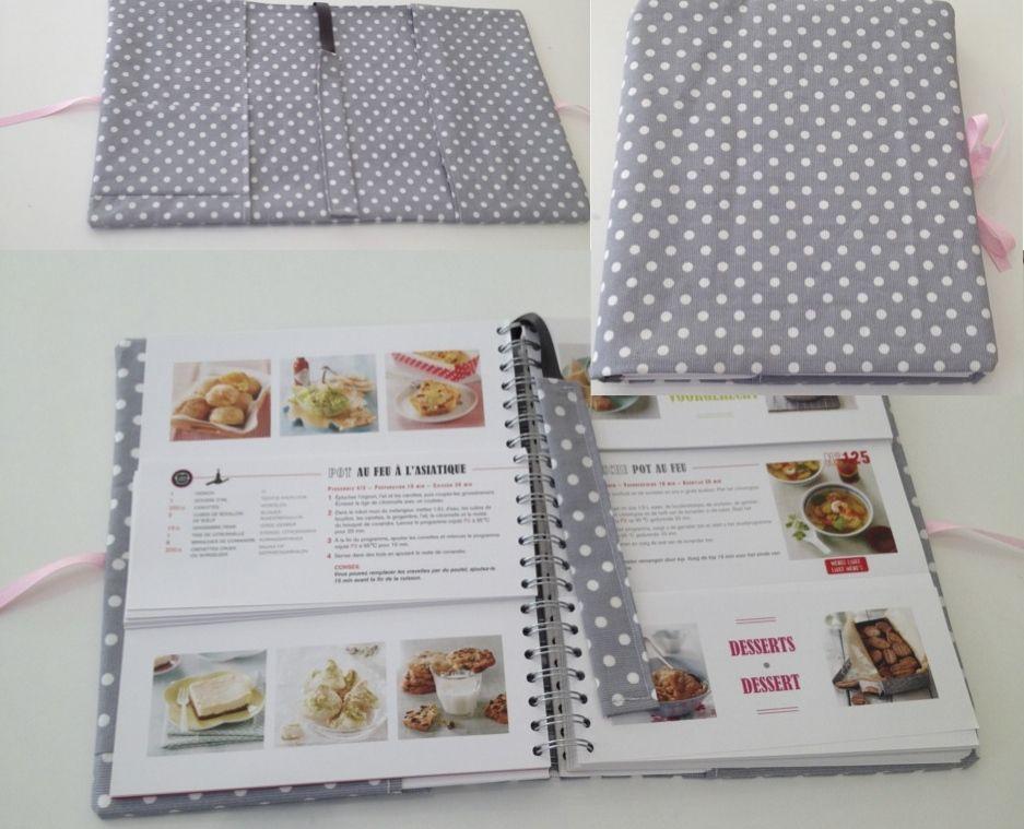 Protege livre de cuisine en toile cir e avec marque page - Livre cuisine marque culte ...