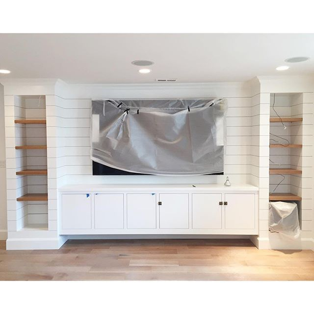 A Diy Shiplapped Built In Entertainment Center Chris Loves Julia Home Family Room Design Built In Entertainment Center