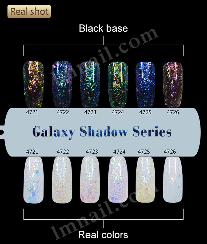 Galaxy Shadow Series, 6 color gel nail polish,shinning bright ...