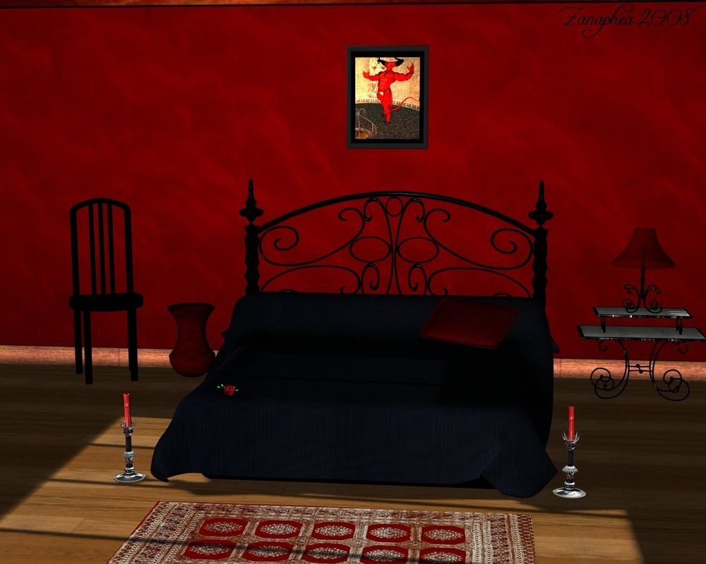 Romantic Black And Red Bedroom red and black painted bedroom | romantic bedroom design with