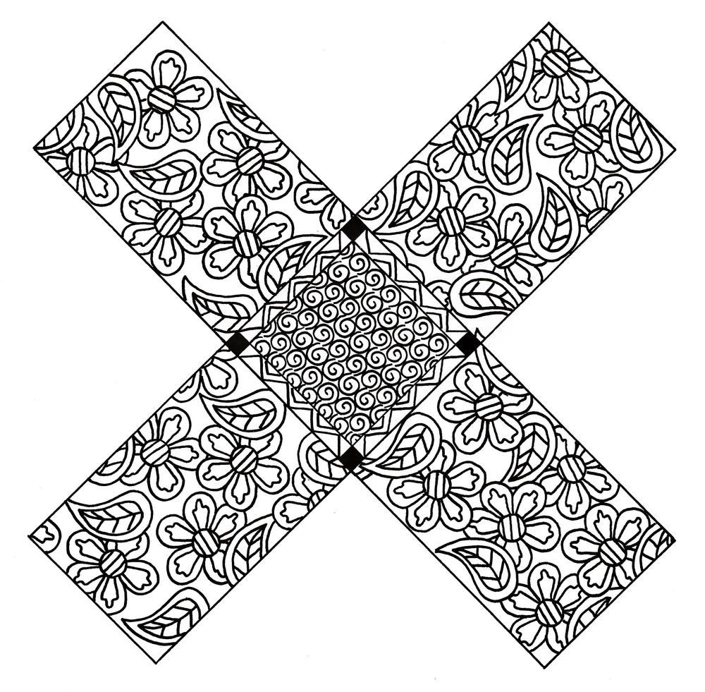 X Marks The Spot Floral Zentangle Coloring Page Coloring Pages