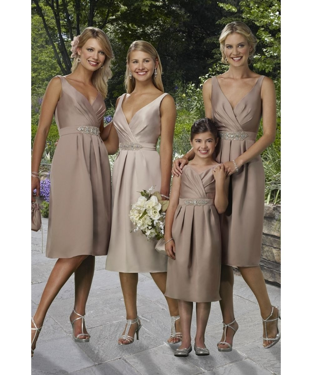 Vestiti damigelle cerca con google abiti damigelle pinterest v neck ruched beaded pale brown bridesmaid dress tea length ombrellifo Image collections