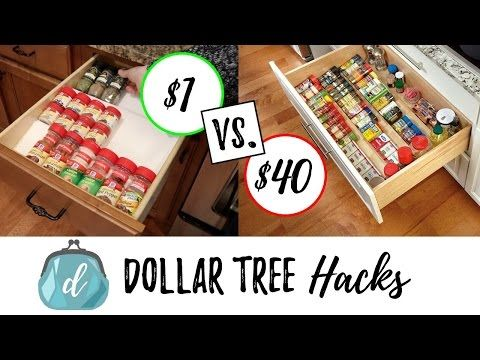 In This Video I Share Two Ridiculously Easy Diys For How To Organize Your Spices In A Drawer Or Ca Dollar Tree Kitchen Diy Spice Rack Kitchen Organization Diy