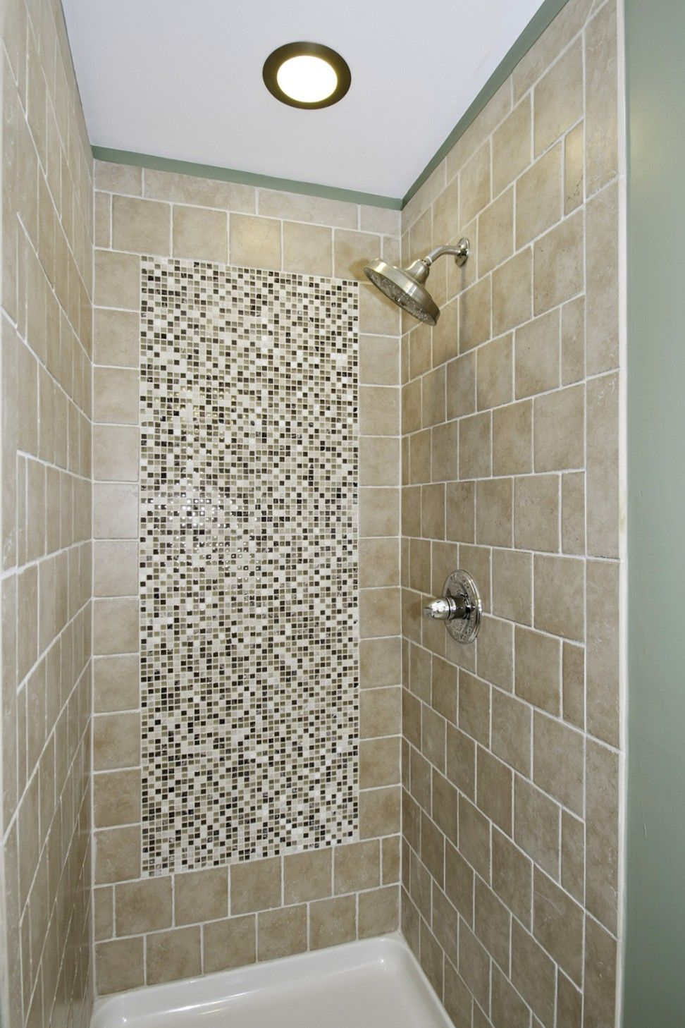 Image Result For Porcelain Tile With Mosaic Tile Inlay On Wall Tile Bathroom Bathroom Tile Designs Mosaic Bathroom Tile