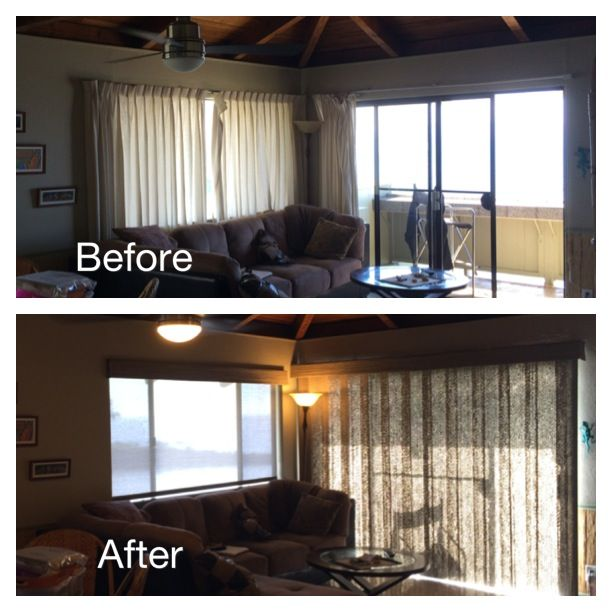 The After Hunter Douglas Screen Shades W Woven Valances