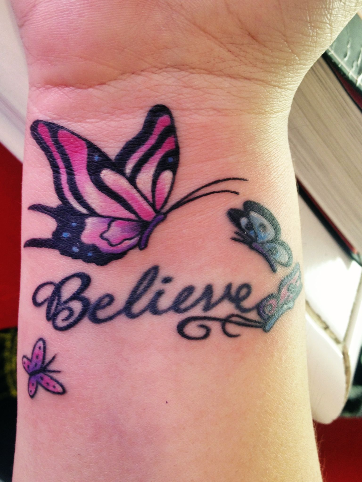 obsessed with my tattoo butterflies Believe tattoos