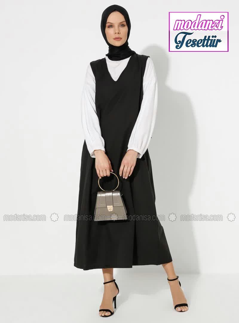 Modanisa Elbise Modelleri 2020 Duz Renk Elbise Siyah 2020 Elbise Elbise Modelleri Moda Stilleri
