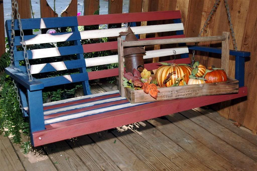 Americana Swing Americana Decor Porch Garden Thrift Store Crafts