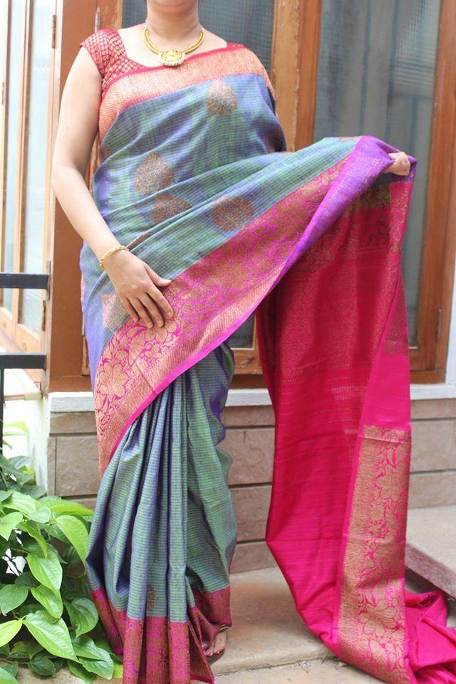 2cbf9a79ca79a2 Blue & Pink Banaras Dupion silk | Benarasi | Dupion silk, Dupion ...