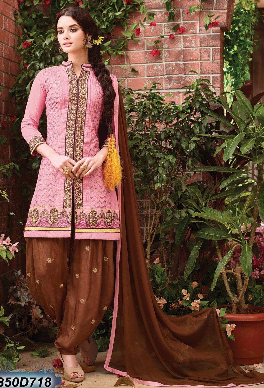af56eee110 #Pink And #Brown #Cotton #Cambric #Patiala #Suit #nikvik #usa #designer # australia #canada #freeshipping #salwarkameezpunjabi
