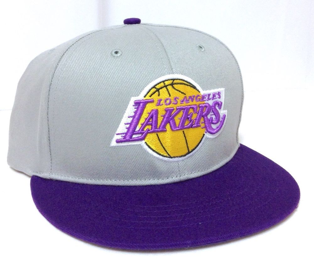 ffb13e21fa1 new LOS ANGELES LAKERS SNAPBACK HAT Gray Purple Yellow Flat-Bill LA Men Women   NBAHardwoodClassicsFanFavorite  LosAngelesLakers