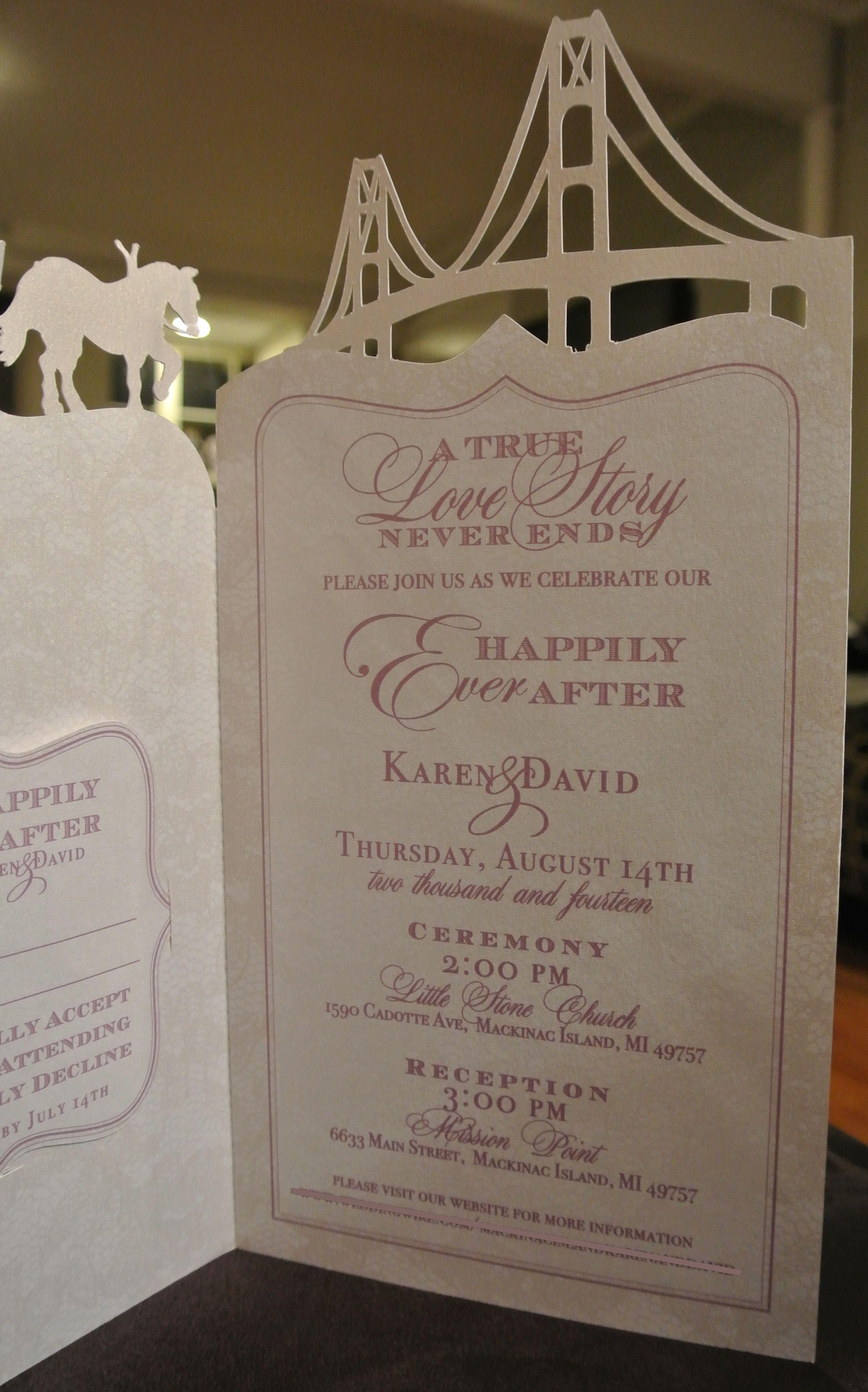 wedding invitation inside mackinac island wedding custom