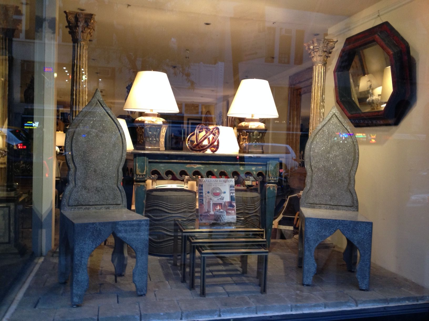 New York #Mecox #window #display with #side #chairs and wave #decor #console - must haves this season! #NYC #MecoxGardens #furniture #shopping #home #decor #design #room #designidea #vintage #antiques #garden