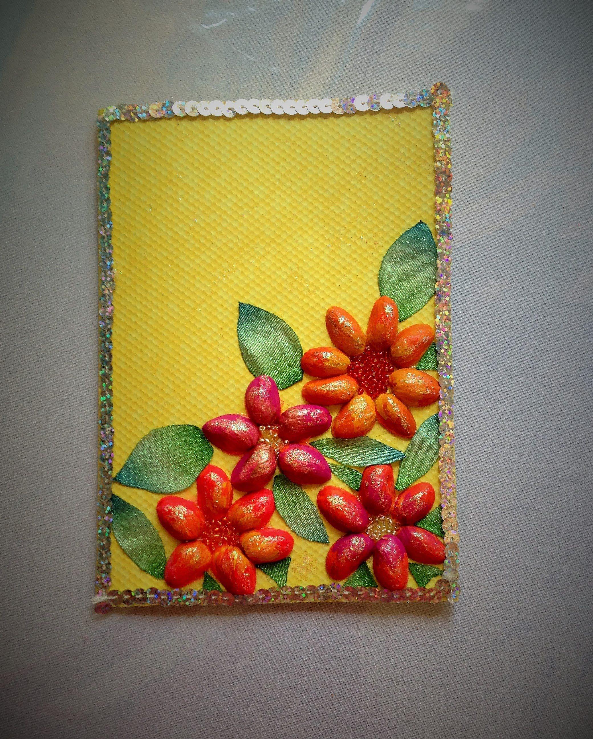 DIY Tarjeta de cascara de Pistaches día de las madres card made of shell...