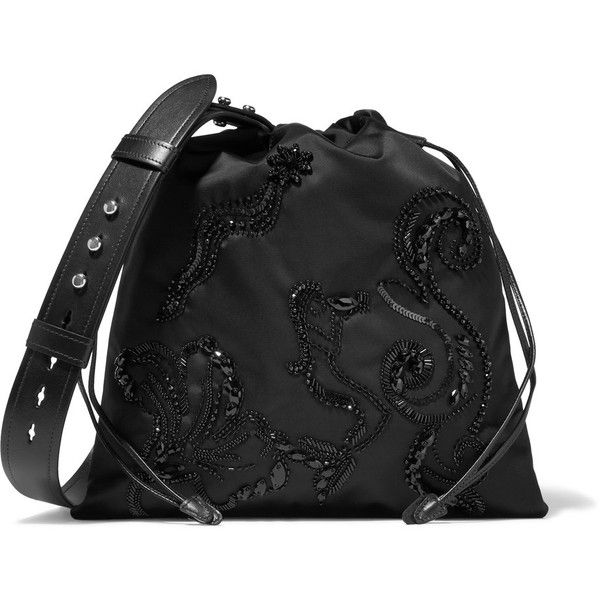 285d9928a0eb48 Prada Leather-trimmed embellished shell shoulder bag (18,235 THB) ❤ liked  on Polyvore featuring bags, handbags, shoulder bags, embellished handbags,  prada ...