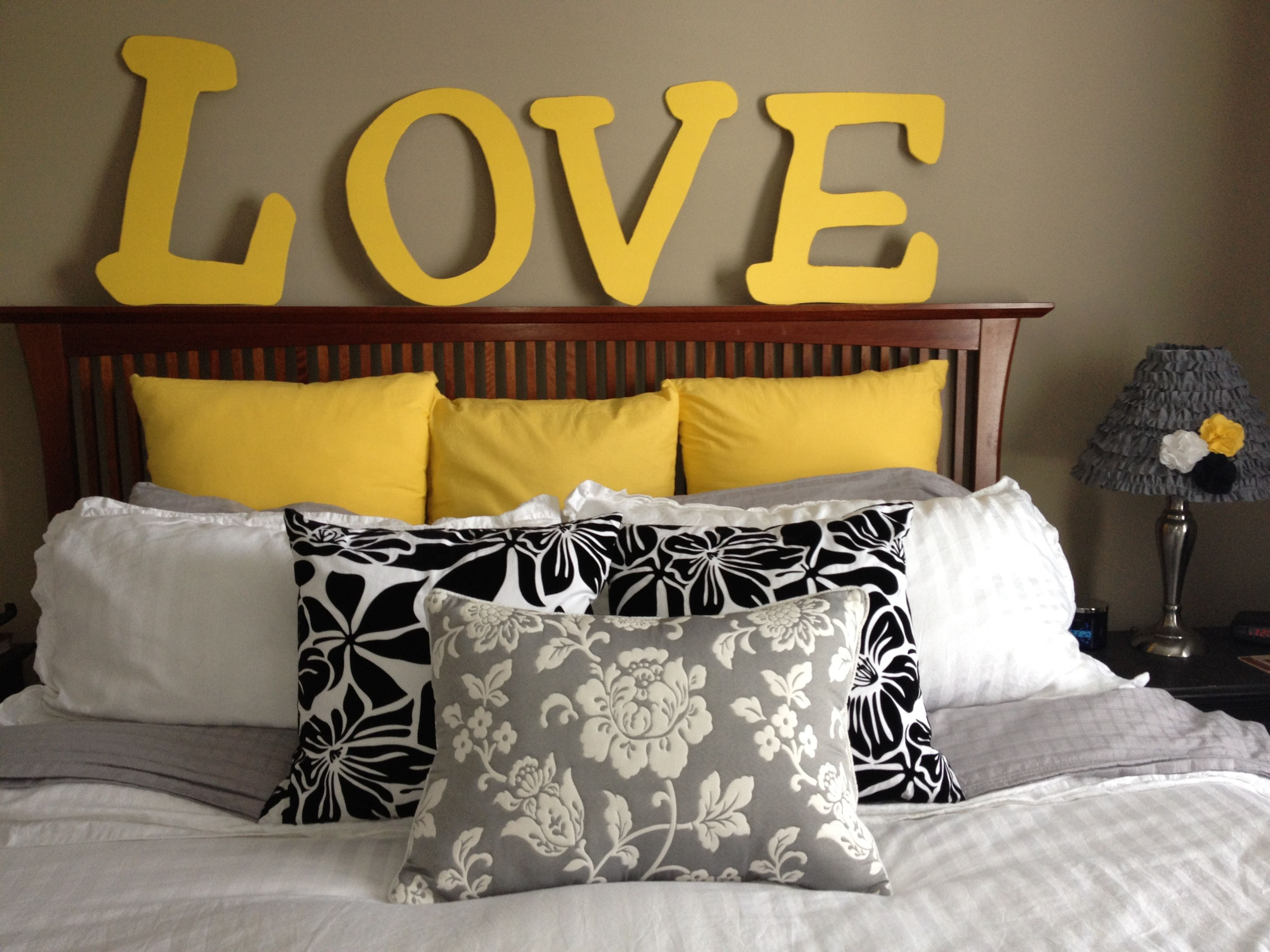 Black, white, and yellow bedroom with yellow LOVE letters. | For the ...