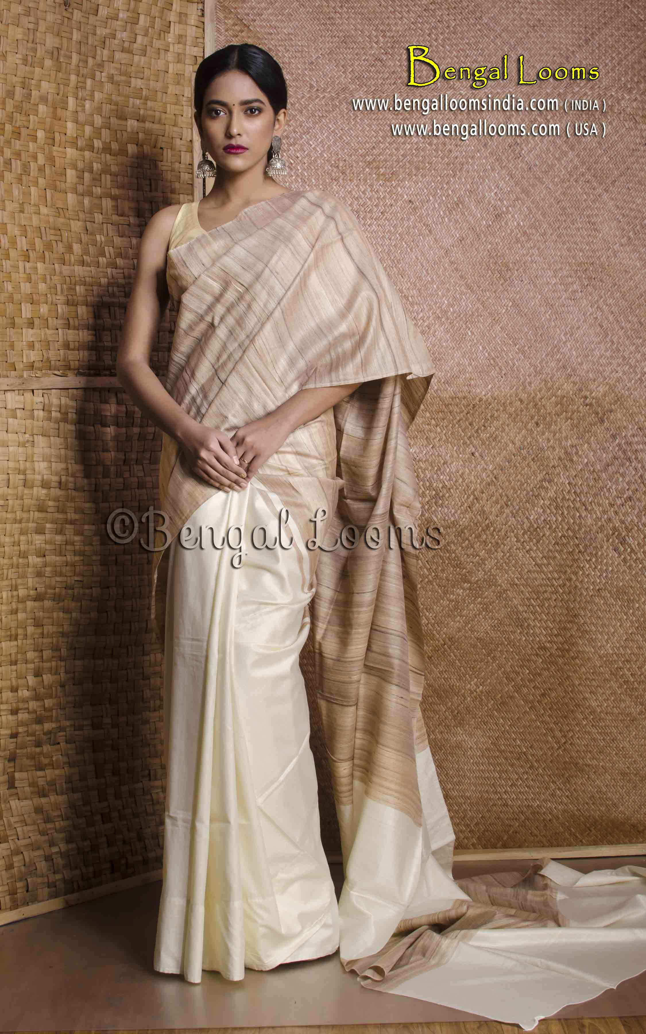 ed78a1dcb63dc3 Half and Half Gicha Tussar Silk Saree in White and Beige
