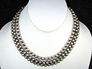 Sterling Silver 3 Strand Beads Necklace 50s 16 1/2 inches 3 strand 6.5mm 40 Grams