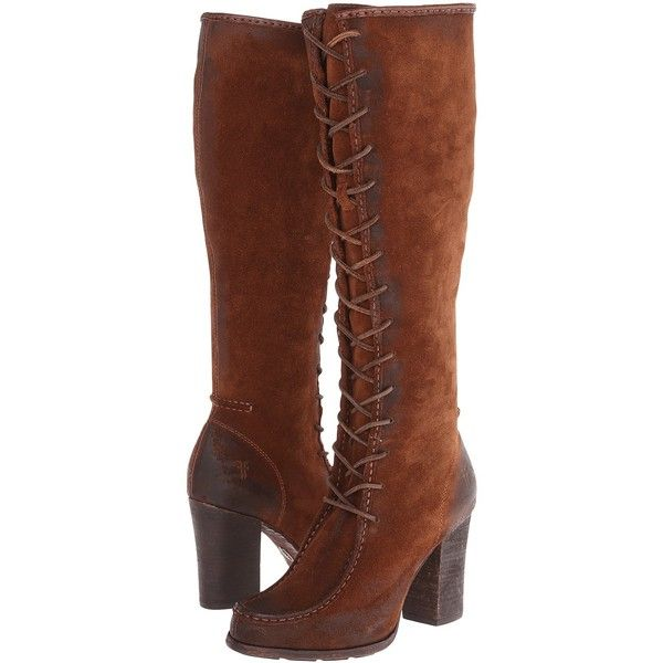 Frye Parker Moc Tall (Brown Oiled Suede) Cowboy Boots ($240) ❤ liked