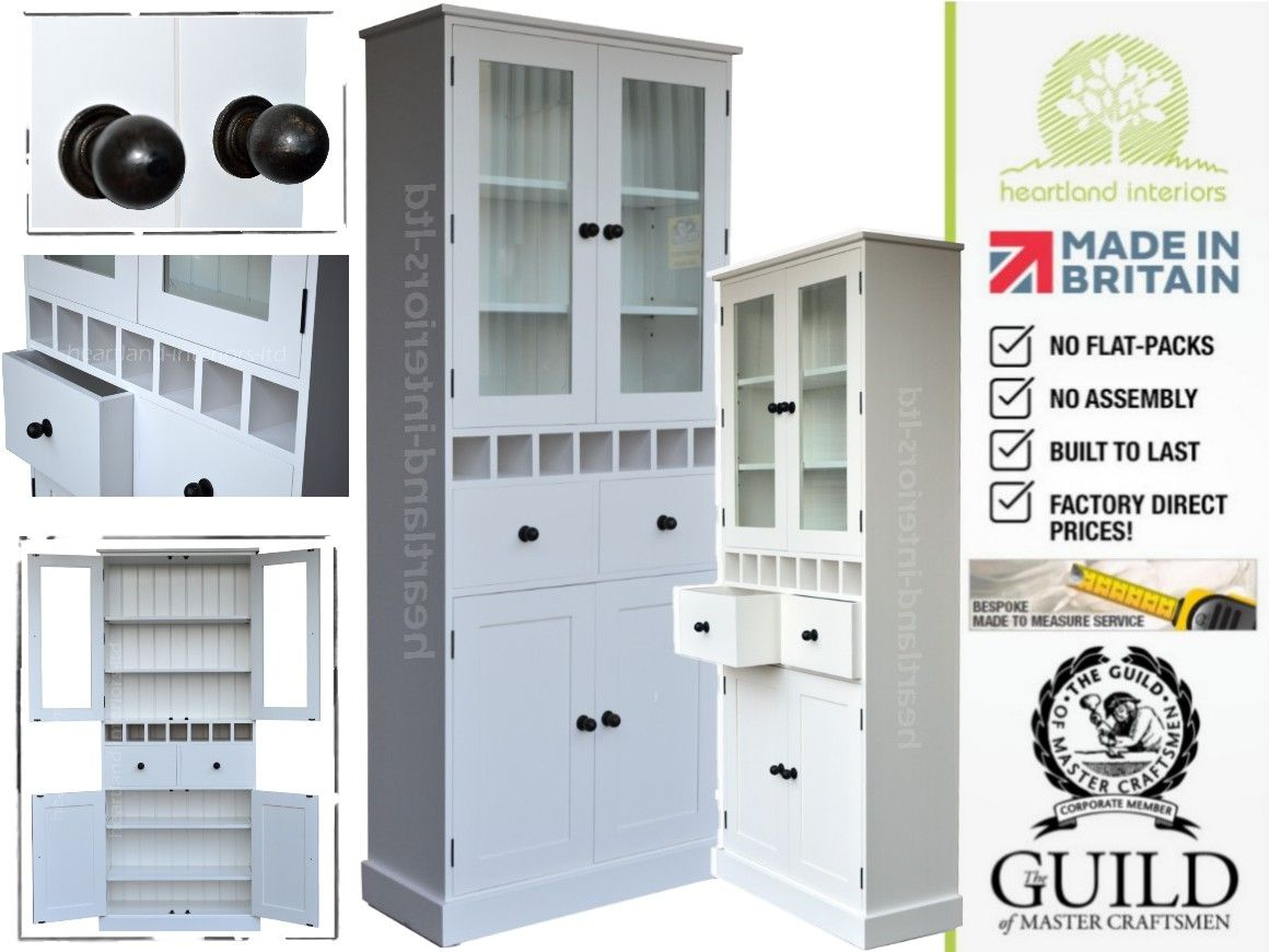 Contemporary Painted, 7ft Tall Glazed Kitchen Storage Cabinet with ...