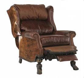 Custom-made bull-inspired leather recliner in mixed leather styles with carved wood feet.  sc 1 st  Pinterest & Western Recliner Chair | Wild West Home | Pinterest | Recliner ... islam-shia.org