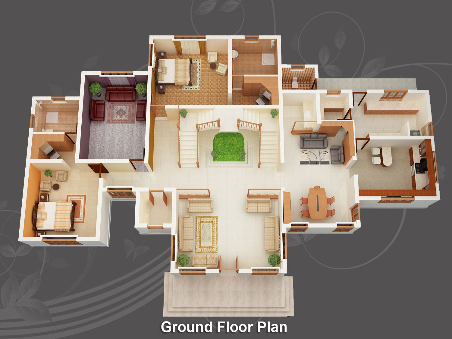 Image for free home design plans 3d wallpaper desktop for Small house plan design 3d