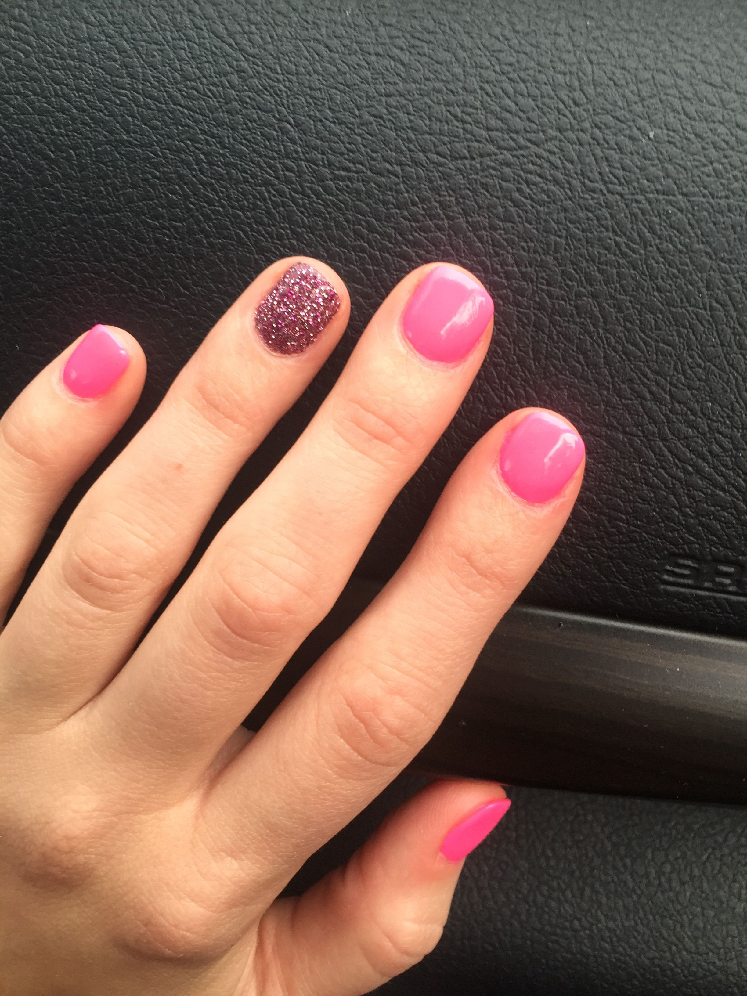 SNS neon pink nails with sparkles | Nails | Pinterest | Neon pink ...