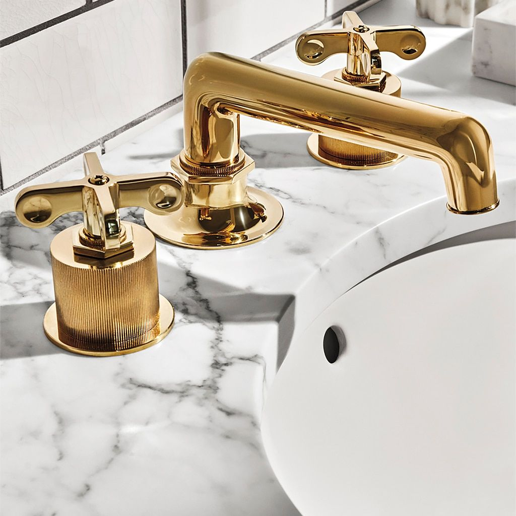 Henry Low Profile Three Hole Deck Mounted Lavatory Faucet With Coin Edge Cylinders And Metal Cross Handles In 2020 Lavatory Faucet Faucet Metal Cross