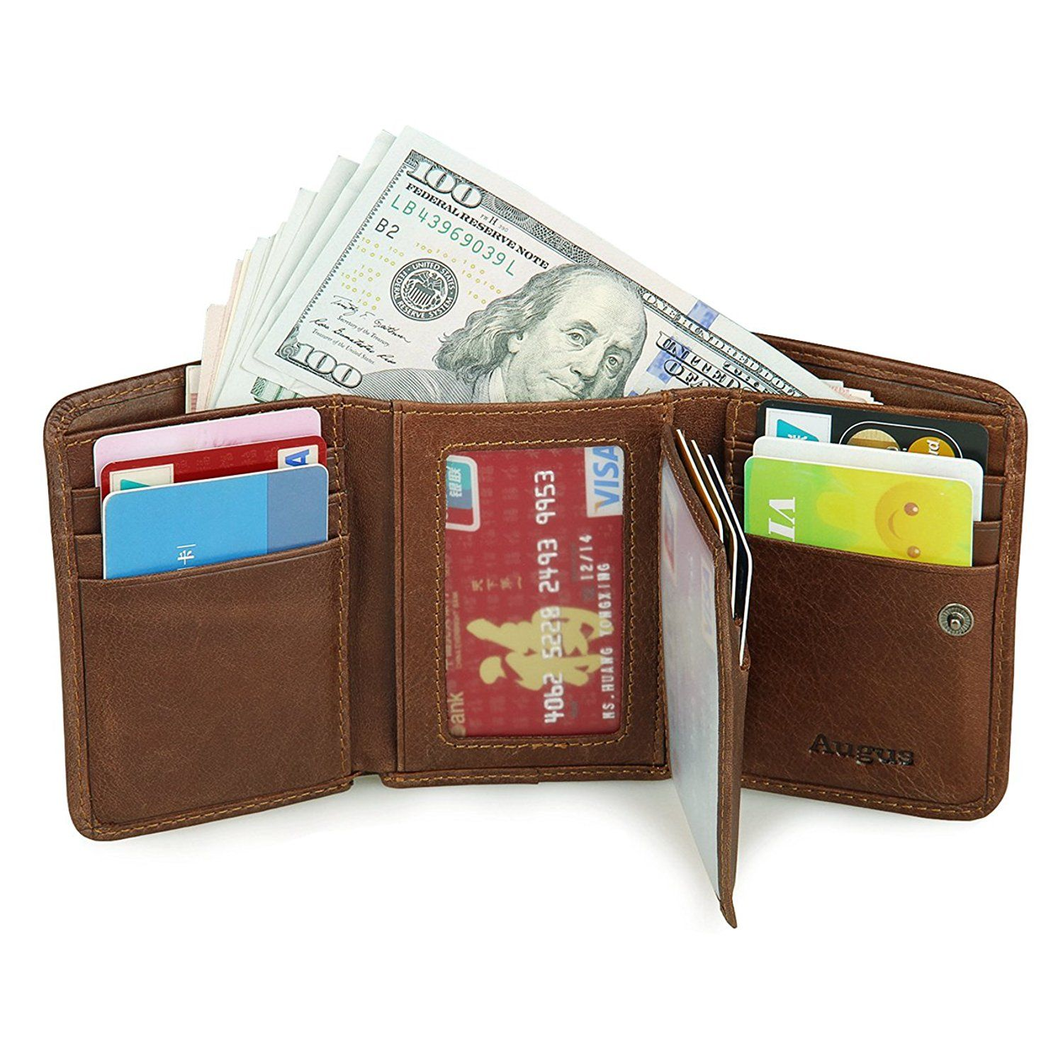 Augus leather mens rfid trifold wallet with double id