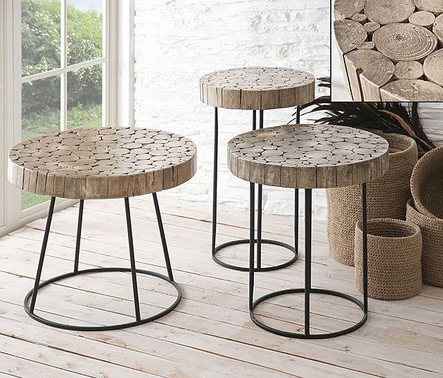 Muebles mesa auxiliar troncos y forja for Muebles con troncos