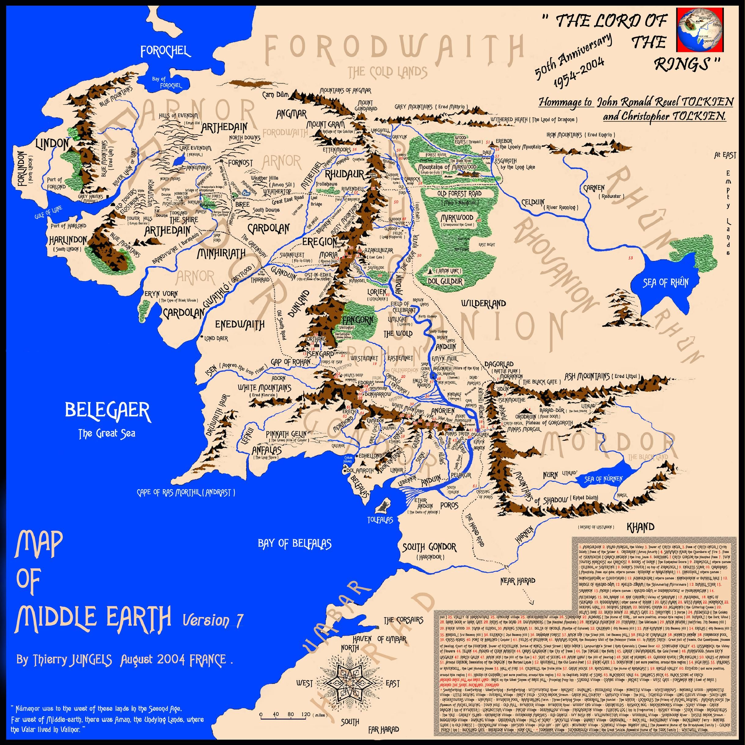THE MAP OF MIDDLE EARTH. Wonderfully detailed presentation.