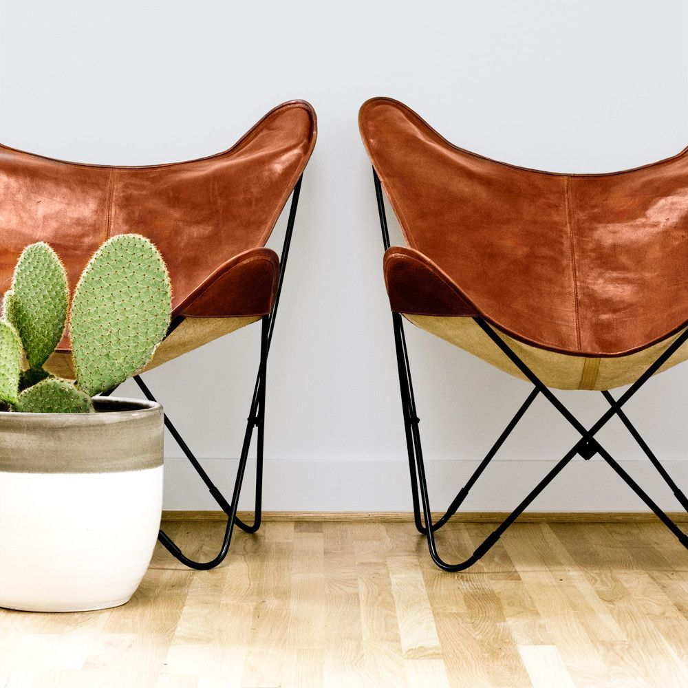 Palermo Butterfly Chairs in Cognac Leather