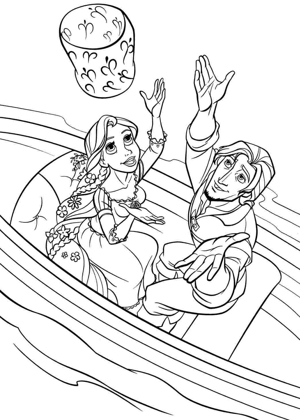 Rapunzel And Flynn On Boat Coloring Page ColoringRapunzel