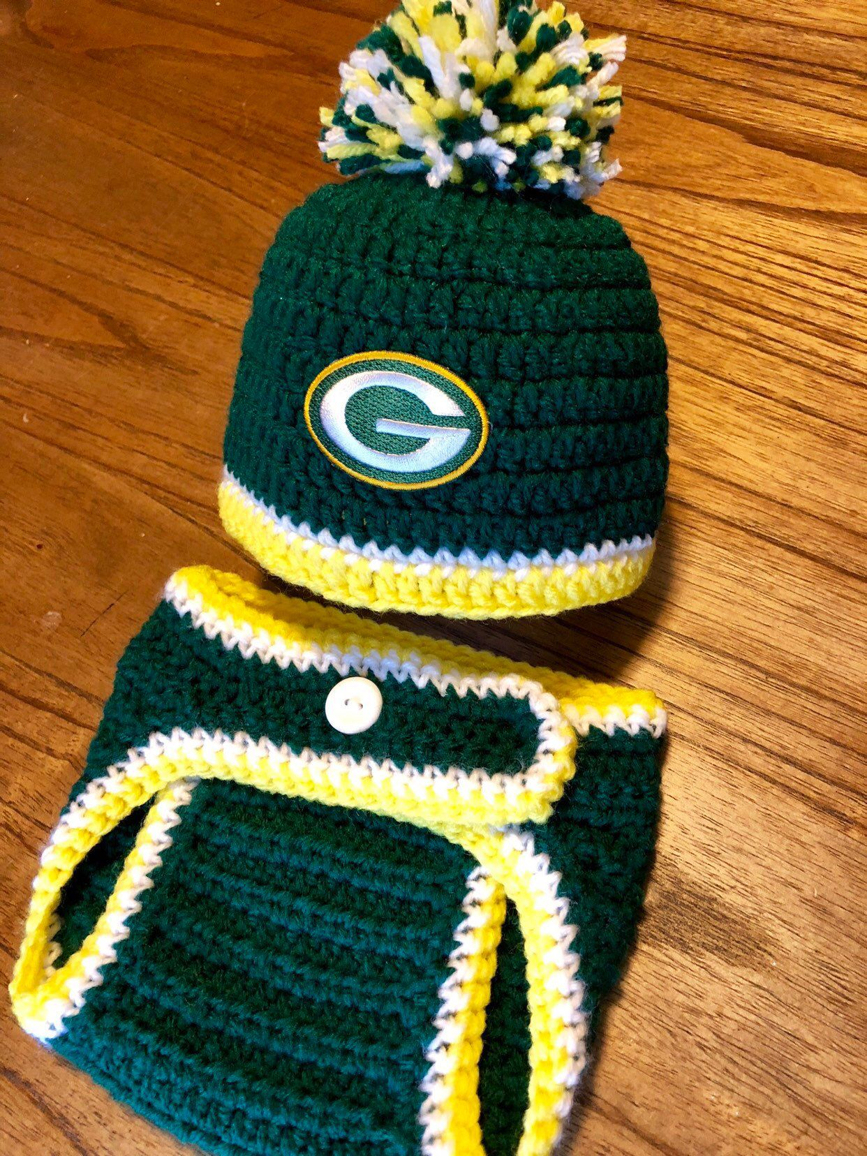 Packers Hat Baby Boy Knit Hospital Hat Football Newborn Hat And Diaper Cover Set Baby Shower Gift Crochet Knit Coming Home Outfit Green Bay Boy Hospital Hat Baby Boy Football Packers
