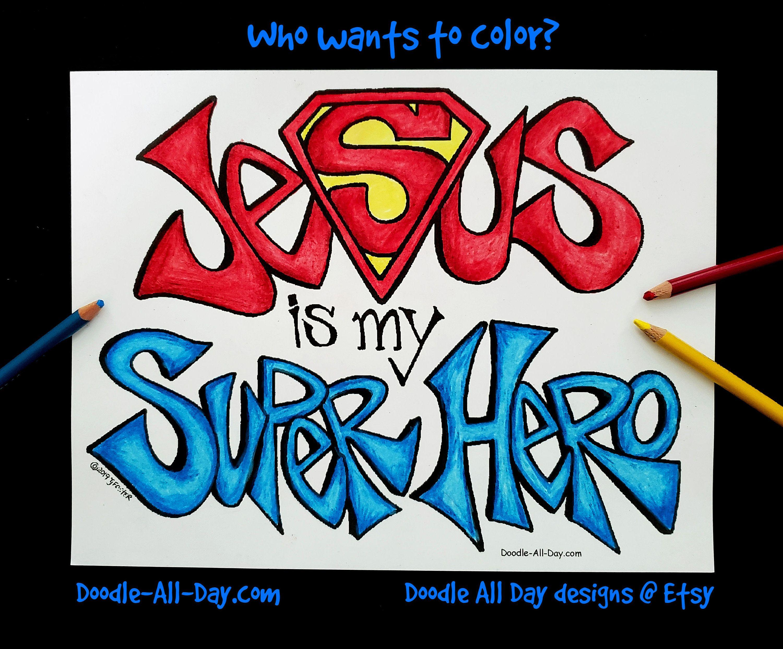 Jesus Is My Super Hero Coloring Pdf Etsy Superhero Vbs Superhero Hero Bulletin Board