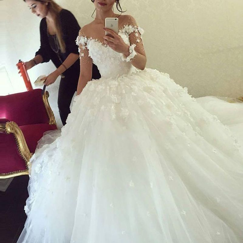 Muslim Wedding Dress 2016 Directly From China Ball Gown Dresses Suppliers Long Sleeve Arab Lace Liqued Flowers