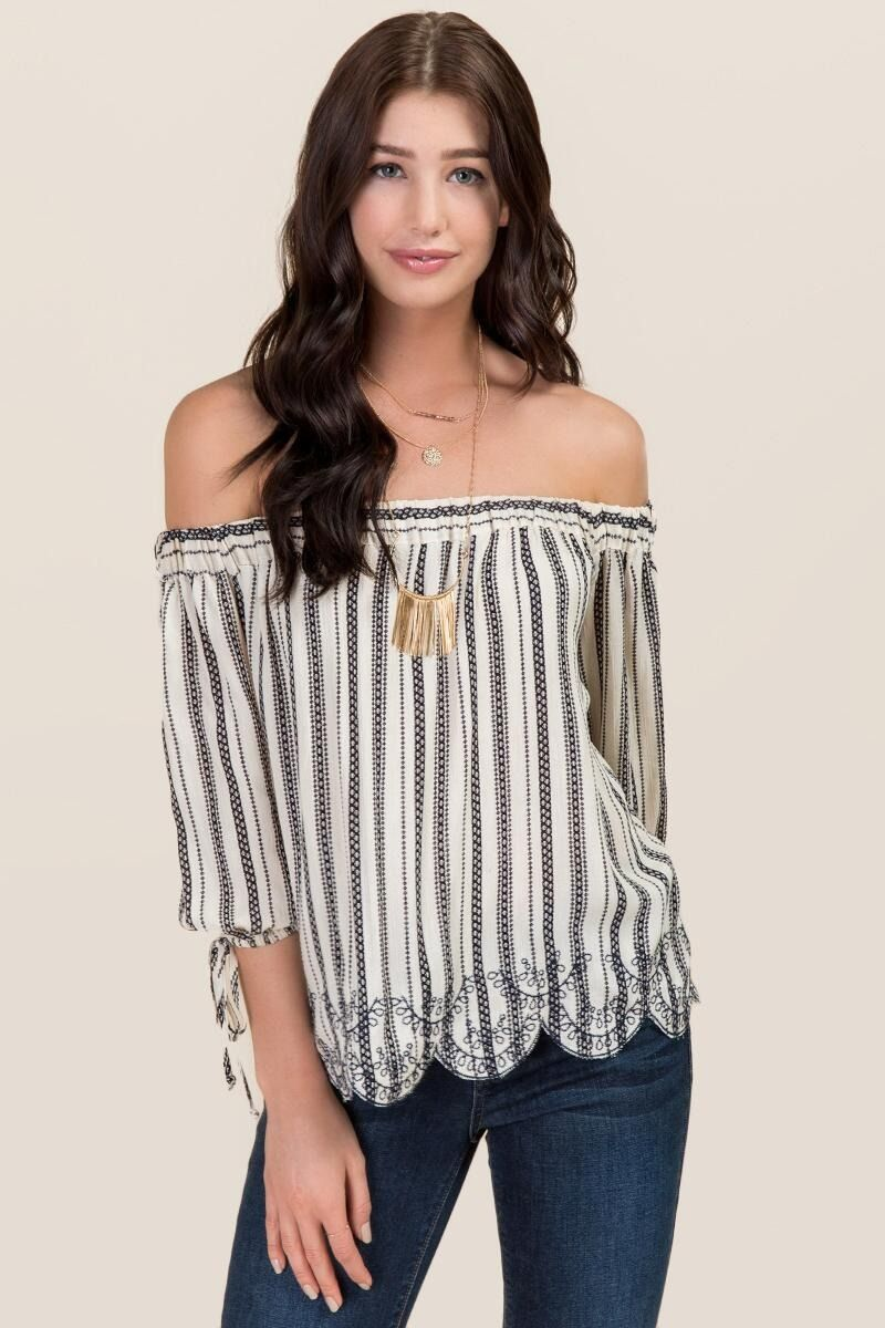 de15ff5d81221f Delany Striped Embroidered Off The Shoulder Top