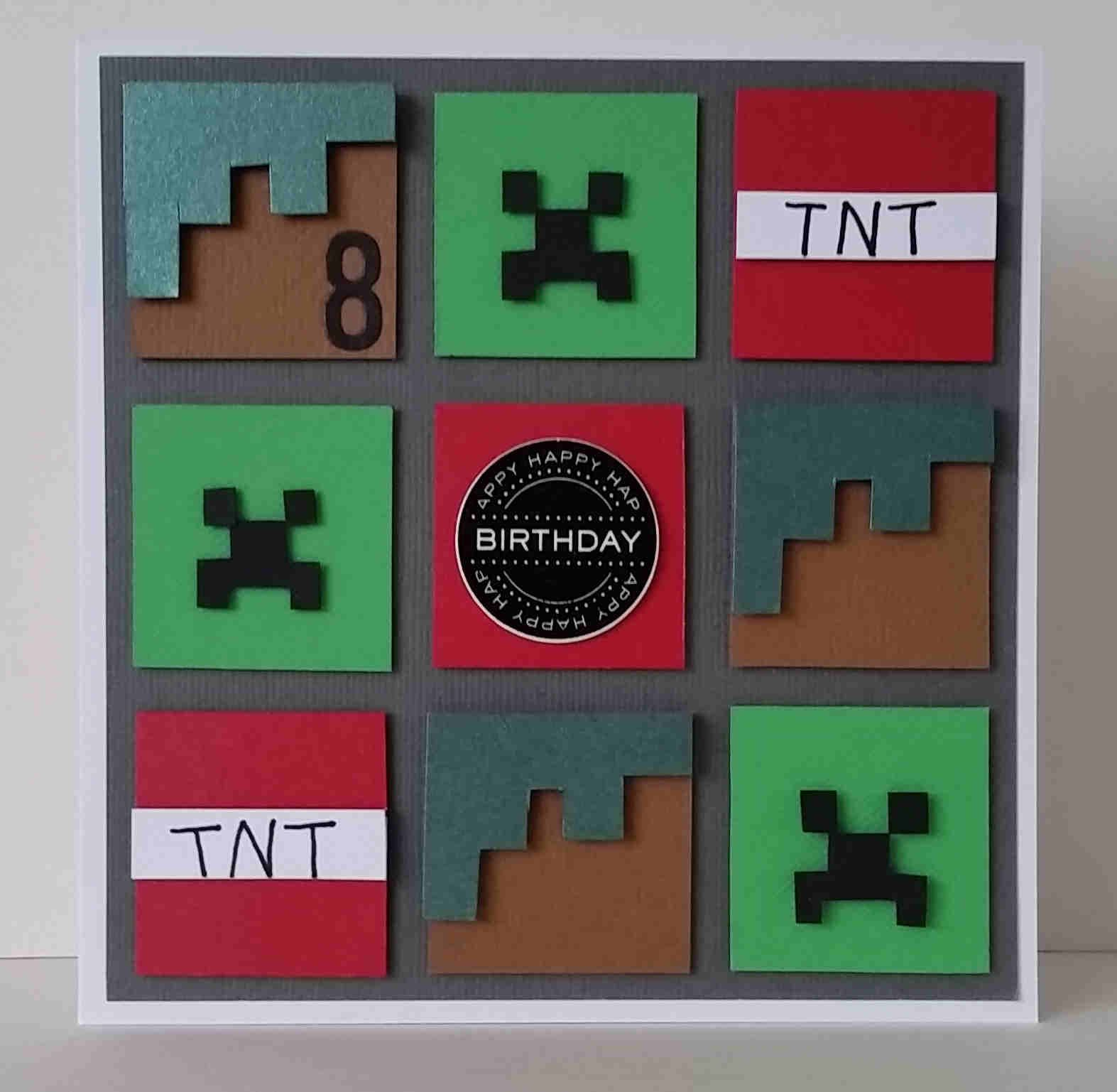 minecraft gift card boys mens minecraft squares themed card handmade hand 1936