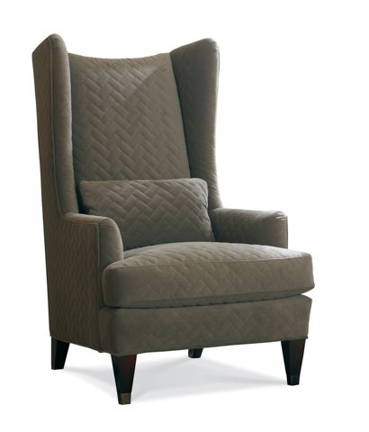 Sherrill high back upholstered wing chair furniture - High back wing chairs for living room ...